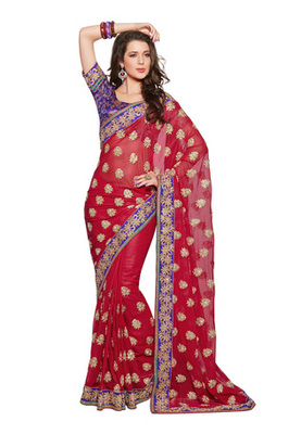 Fabdeal Party Wear Red & Purple Colored Georgette Saree with Brocade Blouse