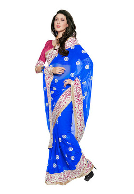 Fabdeal Party Wear Blue & Magenta Colored Chiffon Saree with French crepe Blouse