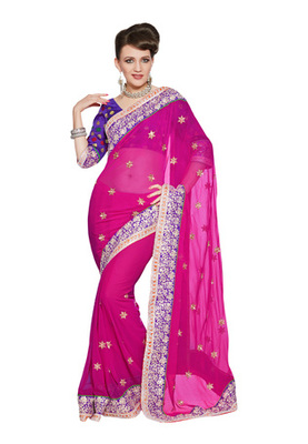 Fabdeal Party Wear Magenta & Purple Colored Georgette Saree with Brocade Blouse