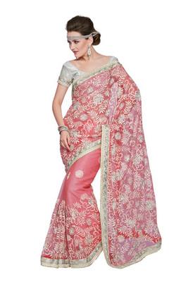 Fabdeal Party Wear Peach & Silver Colored Net & Satin Saree