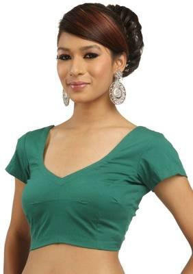 Green Cotton Silk Unstitched Blouse - PSB003