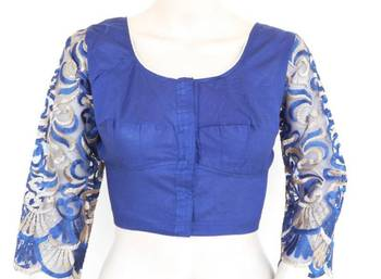 Navy blue blouse with long lace sleeves