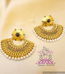 Buy Black Polki Ginni & Pearl Earrings danglers-drop online