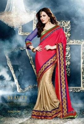 Beautifully designed red color silk saree