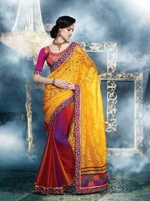 designer yellow color georgette saree
