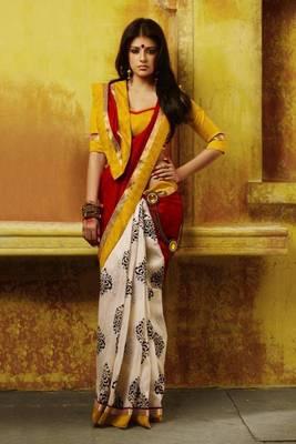 pure bhagalpuri printed red color saree