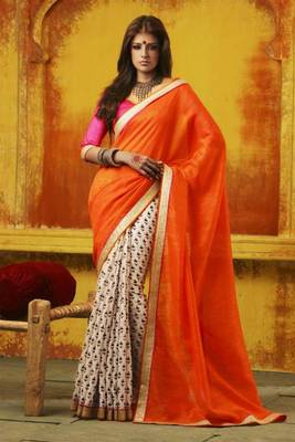 Lovely orange color bhagalpuri saree