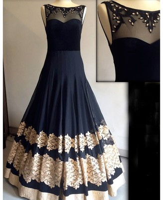 Buy Black georgette embroidered semi stitiched indian party wear ...