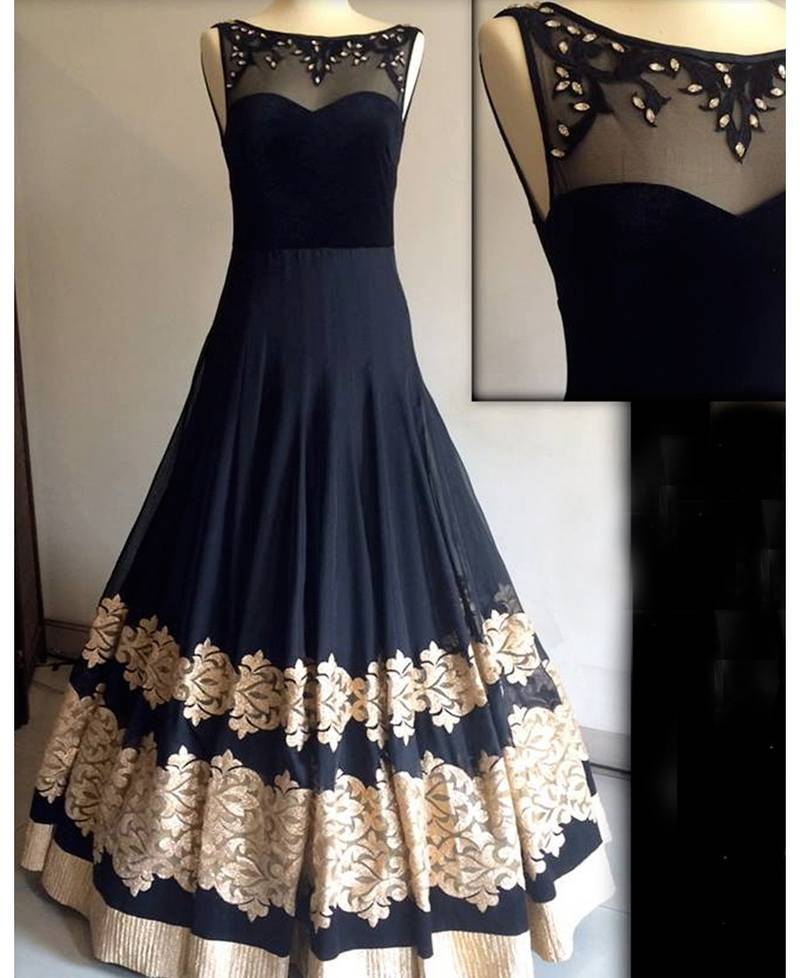 Buy Black Georgette Embroidered Semi Stitiched Indian Party Wear