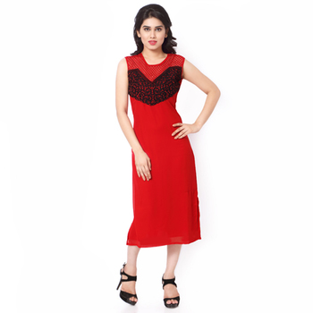 Red Georgette And Net Embroidered Stitched Kurti