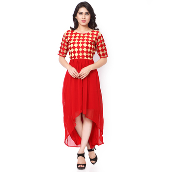 Red And Cream Net And Georgette Embroidered Stitched Kurti