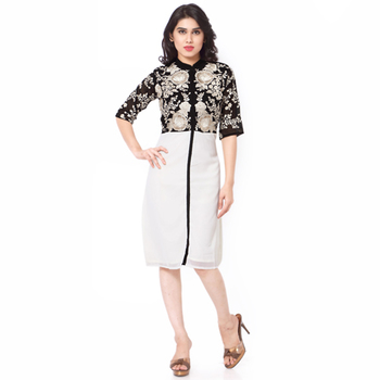 Off White And Black Gerogette Embroidered Stitched Kurti