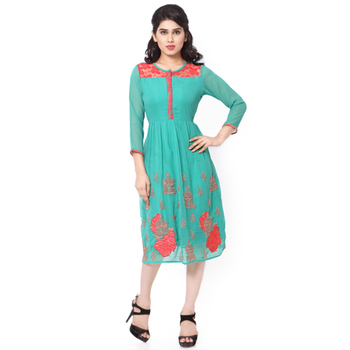 Green gerogette embroidered stitched kurti