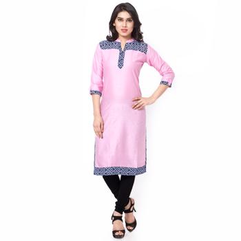 Pink Mix Cotton Plain Stitched Kurti