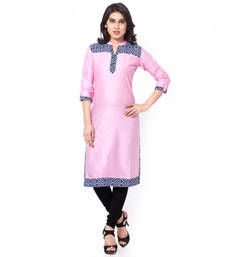 Pink Mix Cotton Plain Stitched Kurti