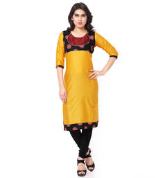 Yellow mix cotton plain stitched kurti