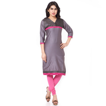 Grey Mix Cotton Plain Stitched Kurti
