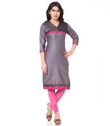 Grey mix cotton plain stitched kurti