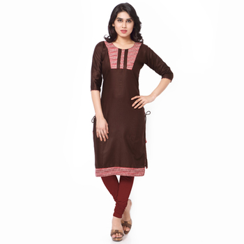Brown Mix Cotton Plain Stitched Kurti