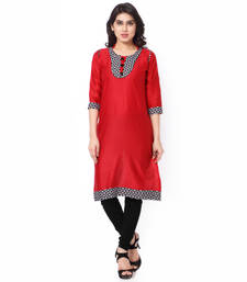 Orange Mix Cotton Plain Stitched Kurti