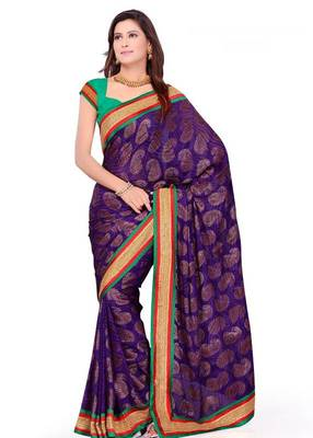 Purple Sober Pure Vicose Saree with Unstitched Blouse