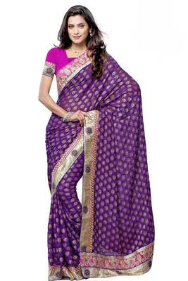 Purple Pure Viscose Party Wear Saree