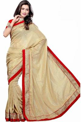 Cream and Red Georgette Coating Wedding Party Wear Saree