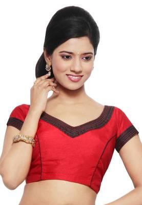 Red & Black Jasmine Silk Unstitched Blouse - PSB060