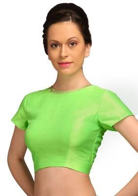 Green Jasmine Silk Unstitched Blouse - PSB064