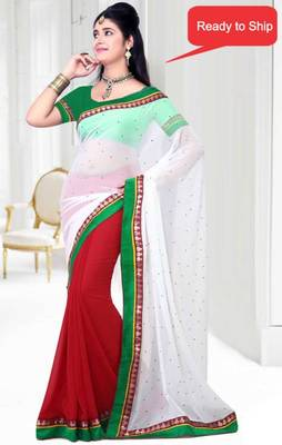 Bollywood Style Red and Off White Faux Georgette Saree With Blouse