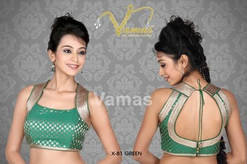 Sleeveless Brocade multilaced saree blouse x -81gr green Muhenera presents designer vama collection