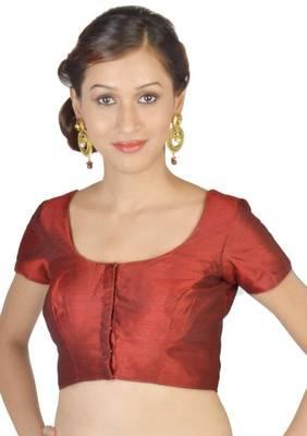 Maroon Jasmine Silk Unstitched Blouse - PSB072