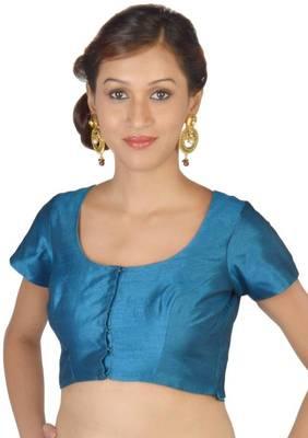 Han Blue Jasmine Silk Unstitched Blouse - PSB073