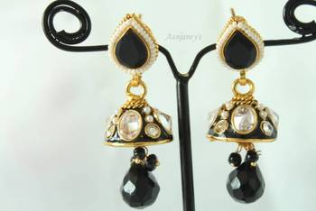 Antique Earrings Jhumkas Indian Ethnic Traditional Trendy Pearl Stone Kundan