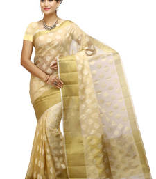 Buy beige woven organza saree With Blouse organza-saree online