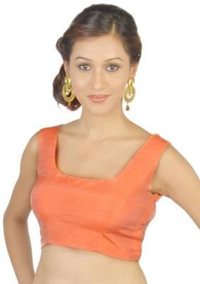 Orange Brocode Sleeve Unstitched Blouse - PSB082