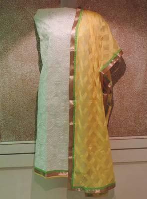 Kota Cotton Embroidered with Chiffon Yellow Dupatta Dress Material