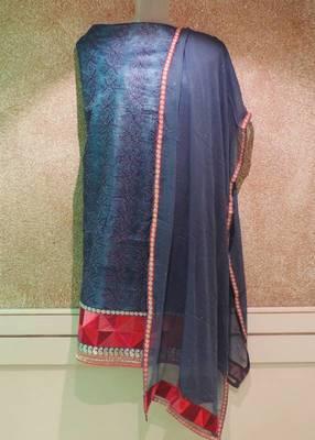 Navy Blue Tussore Silk Resham Thread Work Dress Material