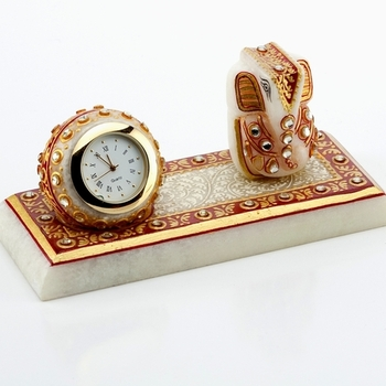 Marvel In Marble - Gold Embossed Lord Ganesh With Watch_49