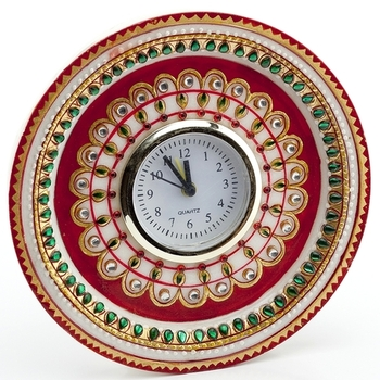 Marvel In Marble - Gold Embossed Kundan Work Alarm Clock_52