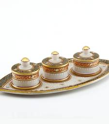 Marvel In Marble - Gold Embossed Boat Tray With Utility Containers_79 shop online