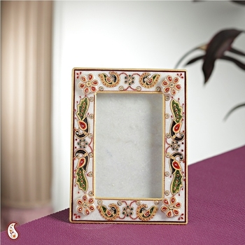 Painted Photo frame in gold work