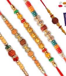 Buy Natural rudraksh with bead five rakhi set send-rakhi-to-indium online