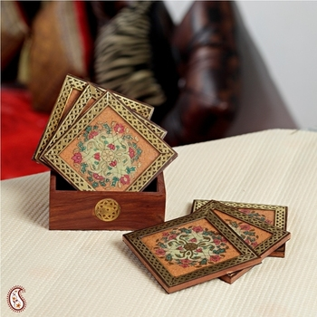 Florally designed set of six Coasters