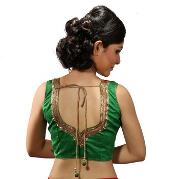 Green handwork blouse. dupion silk stitched blouse