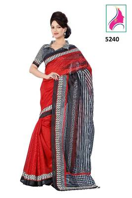 Riti Riwaz Zesty Designer Saree in Barcode Silk  Fabric  With Un-Stitch Blouse Piece in Classy Red  Color 5240