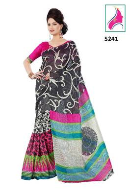 Riti Riwaz Classy Printed Saree in Barcode Silk  Fabric  With Un-Stitch Blouse Piece in Classy Black Color 5241