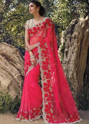 32e4ee2b69 rani pink embroidered net saree With Blouse - Manjula Feb - 1277933