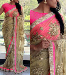 Buy beige embroidered net saree With Blouse wedding-saree online