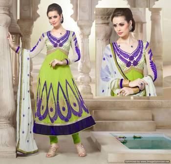 Green Semi stitched Anarkali SC2005